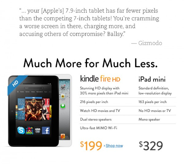 Amazon, Kindle Fire HD, iPad mini