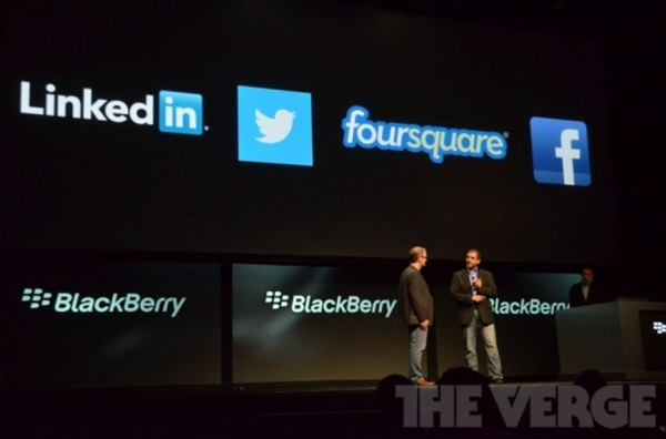 RIM, BlackBerry 10, Twitter, Facebook
