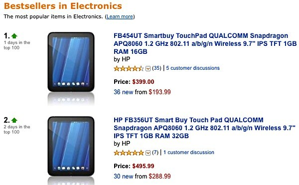HP, TouchPad, webOS, Amazon, tablets, планшеты