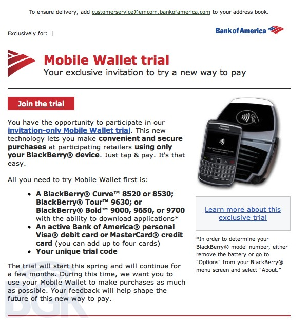 Bank of America, BlackBerry, NFC, payments, платежи