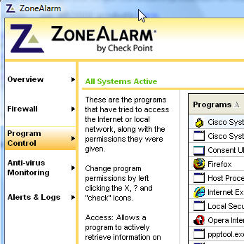 Zone Alarm firewall