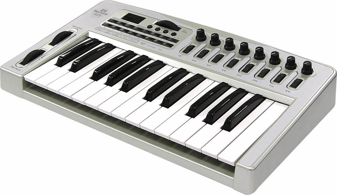 ...USB (25 клавиш), 3 кнопки, 2 колеса (Pitch Bend и Modulation), вход Sustain педали, выключатель питания, MIDI Out...